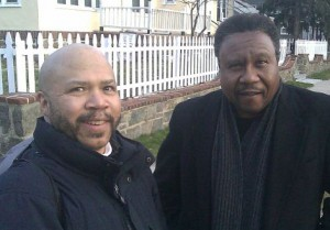 "With Rev. C.L. Bryant, shooting footage for ""Runaway Slave"" film, March, 2011."